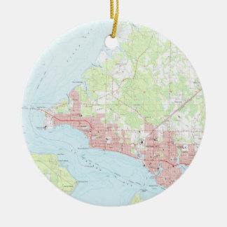 Ornamento De Cerâmica Mapa do vintage da Cidade do Panamá Florida (1956)