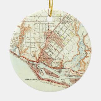 Ornamento De Cerâmica Mapa do vintage da praia Califórnia de Newport