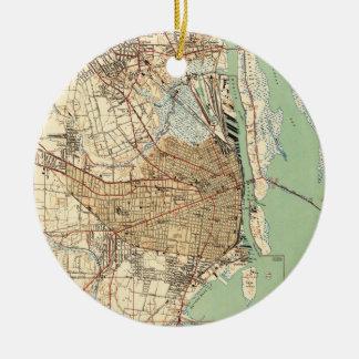 Ornamento De Cerâmica Mapa do vintage de Alabama móvel (1940) 2