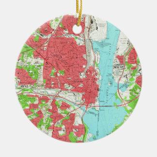 Ornamento De Cerâmica Mapa do vintage de Alexandria Virgínia (1965)