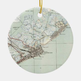 Ornamento De Cerâmica Mapa do vintage de Atlantic City NJ (1941)
