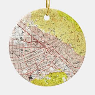 Ornamento De Cerâmica Mapa do vintage de Burbank Califórnia (1953)