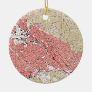Ornamento De Cerâmica Mapa do vintage de Burbank Califórnia (1966)