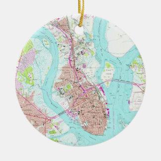 Ornamento De Cerâmica Mapa do vintage de Charleston South Carolina