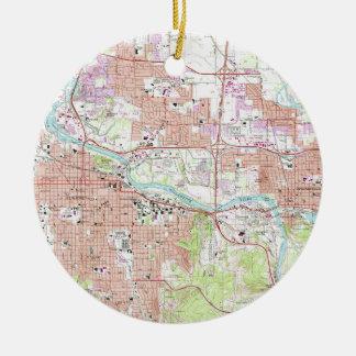 Ornamento De Cerâmica Mapa do vintage de Eugene Oregon (1967)
