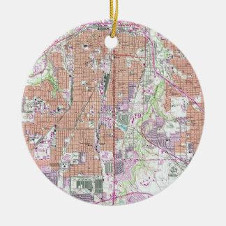 Ornamento De Cerâmica Mapa do vintage de Fort Worth Texas (1955) 2