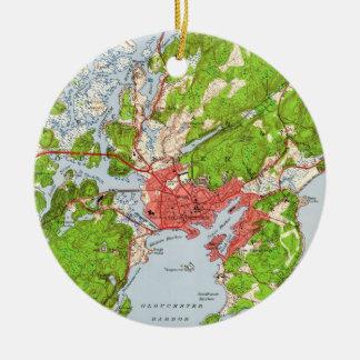 Ornamento De Cerâmica Mapa do vintage de Gloucester Massachusetts (1949)