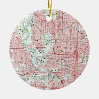 Ornamento De Cerâmica Mapa do vintage de Indianapolis Indiana (1967)