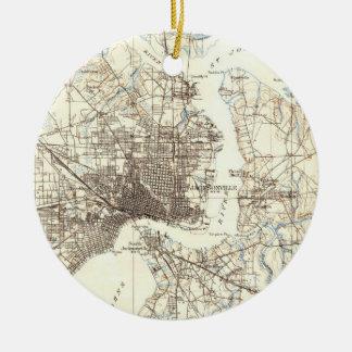 Ornamento De Cerâmica Mapa do vintage de Jacksonville Florida (1918)