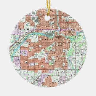 Ornamento De Cerâmica Mapa do vintage de Lansing Michigan (1965)