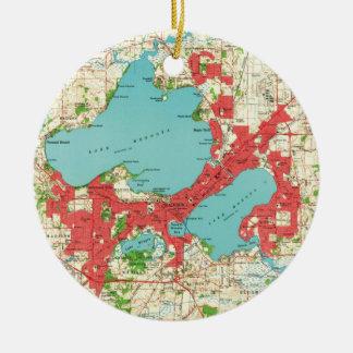 Ornamento De Cerâmica Mapa do vintage de Madison Wisconsin (1959)