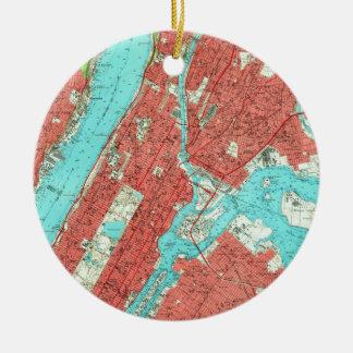 Ornamento De Cerâmica Mapa do vintage de Manhattan da parte alta da