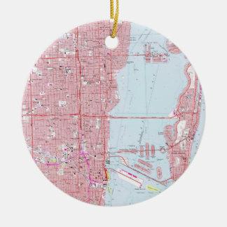 Ornamento De Cerâmica Mapa do vintage de Miami Florida (1962)