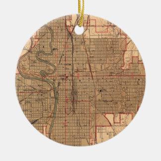 Ornamento De Cerâmica Mapa do vintage de Wichita Kansas (1943)