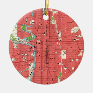 Ornamento De Cerâmica Mapa do vintage de Wichita Kansas (1961)