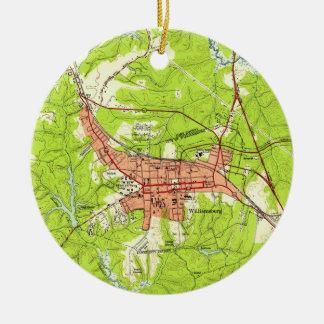 Ornamento De Cerâmica Mapa do vintage de Williamsburg Virgínia (1952)