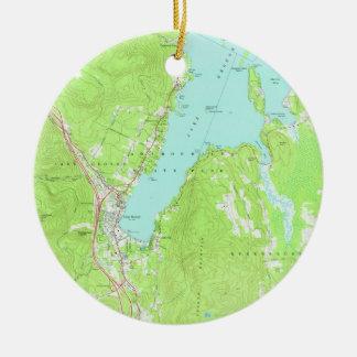 Ornamento De Cerâmica Mapa do vintage do lago George New York (1966) 2