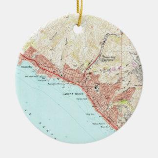 Ornamento De Cerâmica Mapa do vintage do Laguna Beach Califórnia (1965)