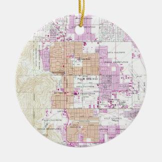 Ornamento De Cerâmica Mapa do vintage do Palm Springs Califórnia (1957)