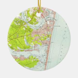 Ornamento De Cerâmica Mapa do vintage do ponto NJ agradável (1953)