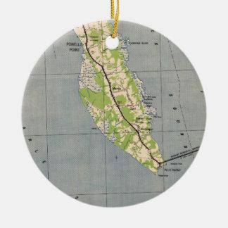 Ornamento De Cerâmica Mapa do vintage do ponto North Carolina de Powells