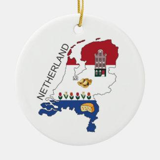 Ornamento De Cerâmica Mapa e Fkag dos Países Baixos