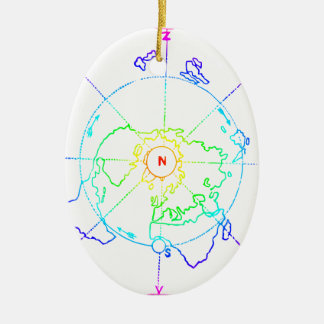Ornamento De Cerâmica Mapa equidistante Azimuthal Zetetic