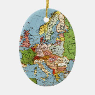 Ornamento De Cerâmica Mapa geral do século XX de Europa do vintage