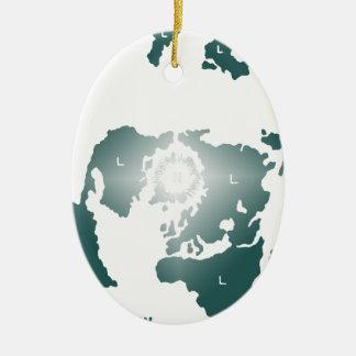 Ornamento De Cerâmica Mapa liso da terra, mapa equidistante Azimuthal