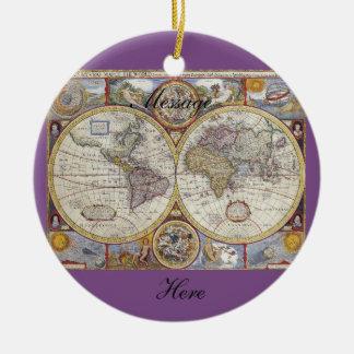Ornamento De Cerâmica Mapa Thunder_Cove do vintage do viajante de mundo