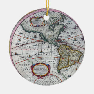 Ornamento De Cerâmica mapa velho Americas