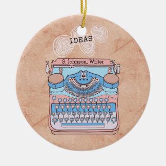 Ornamento De Cerâmica Máquina de escrever do vintage com ideias de roda