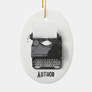 Ornamento De Cerâmica Máquina de escrever velha para o autor,