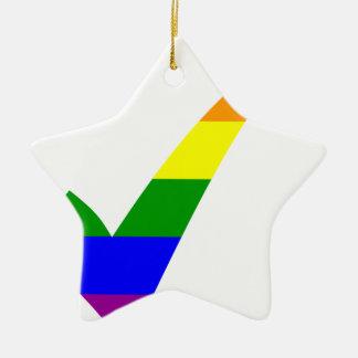 Ornamento De Cerâmica Marca de verificação do arco-íris da Multi-Cor