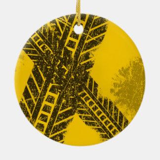 Ornamento De Cerâmica Marcação de estrada preta afligida Grunge da
