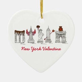 Ornamento De Cerâmica Marcos do coração do dia dos namorados NYC da Nova
