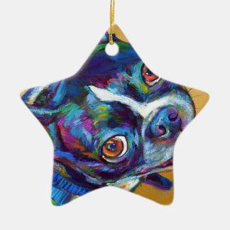 Ornamento De Cerâmica Margarida a Boston Terrier por Robert Phelps