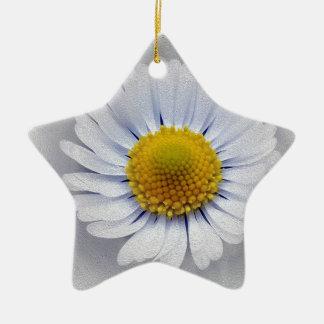 Ornamento De Cerâmica margarida branca de brilho