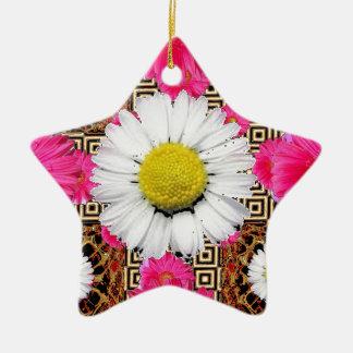 Ornamento De Cerâmica Margarida de Shasta & presentes cor-de-rosa do