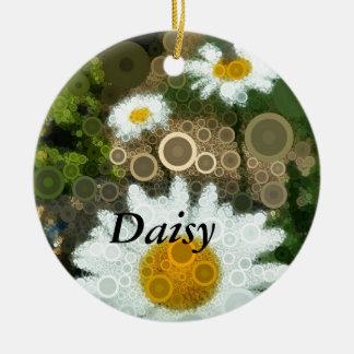 Ornamento De Cerâmica Margarida dos círculos concêntricos do pop art do