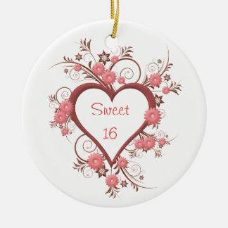 Ornamento De Cerâmica Margarida e doce dezesseis do coração