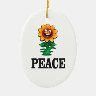 Ornamento De Cerâmica margarida feliz da paz