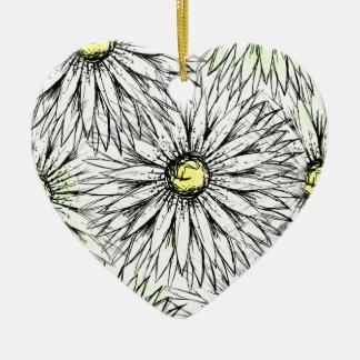 Ornamento De Cerâmica Margaridas