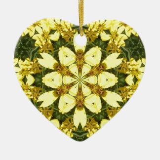 Ornamento De Cerâmica margaridas abstratas florais amarelas do design