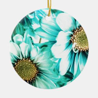 Ornamento De Cerâmica Margaridas azuis & amarelas
