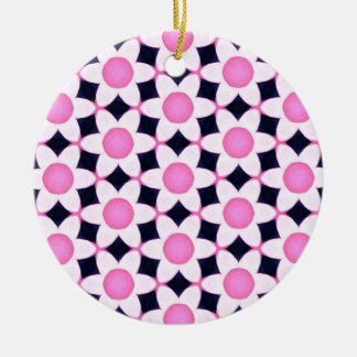 Ornamento De Cerâmica Margaridas cor-de-rosa robustas no preto