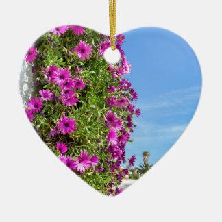 Ornamento De Cerâmica Margaridas espanholas cor-de-rosa de suspensão na