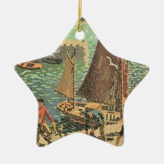 Ornamento De Cerâmica Marinheiros telhados