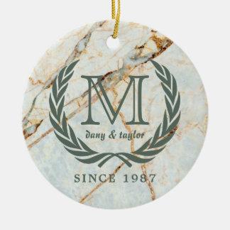 Ornamento De Cerâmica Mármore bonito do monograma clássico da folha do