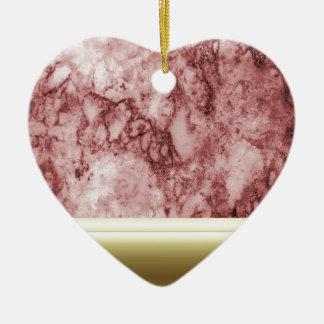 Ornamento De Cerâmica Mármore cor-de-rosa com listras douradas